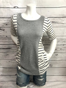 Half sleeve stripped T-shirts with grey front