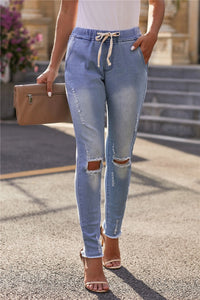Distressed Draw String Skinny Jeans