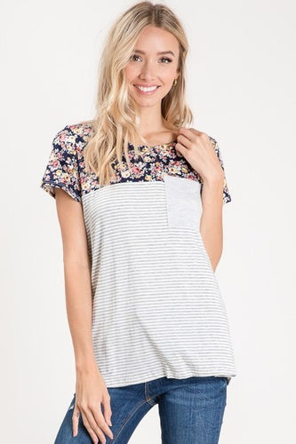 Floral Block Pocket Top