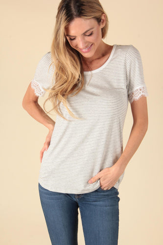 Stripe Lace Sleeve Top