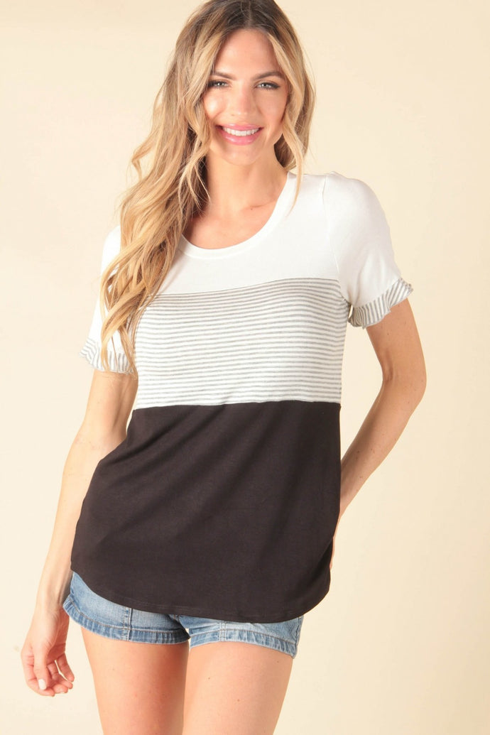 Ruffle Sleeve Block Top
