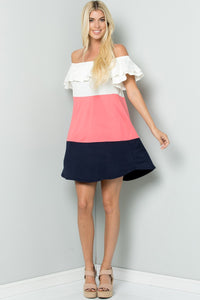Ruffle Color Block Dress