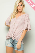 Load image into Gallery viewer, Plus Size Stripe Button Down Top
