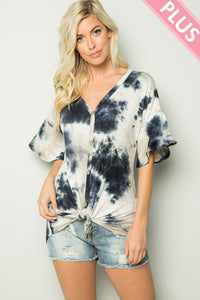 Plus Size Tie Dye Top with Ruffle Sleeve