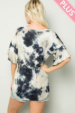 Load image into Gallery viewer, Plus Size Tie Dye Top with Ruffle Sleeve