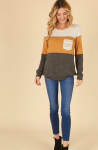 Lace Pocket Color Block Sweater