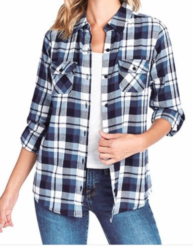 Plaid Flannel Button Up Top
