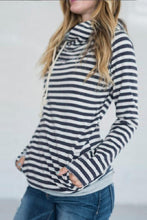 Load image into Gallery viewer, Stripe Zip Pullover Hoodie