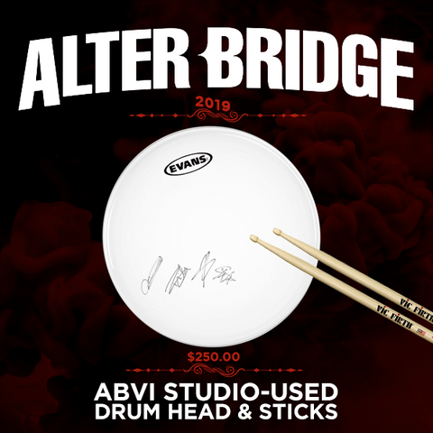 ABVI STUDIO-USED DRUM HEAD & STICKS