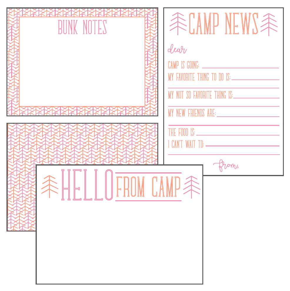 Pink & Orange Camp Stationery