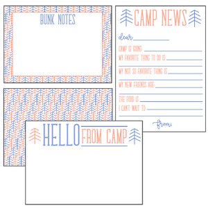 Blue & Orange Camp Stationery