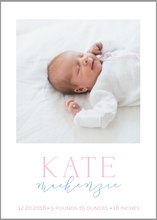 Load image into Gallery viewer, Kate Birth Announcement