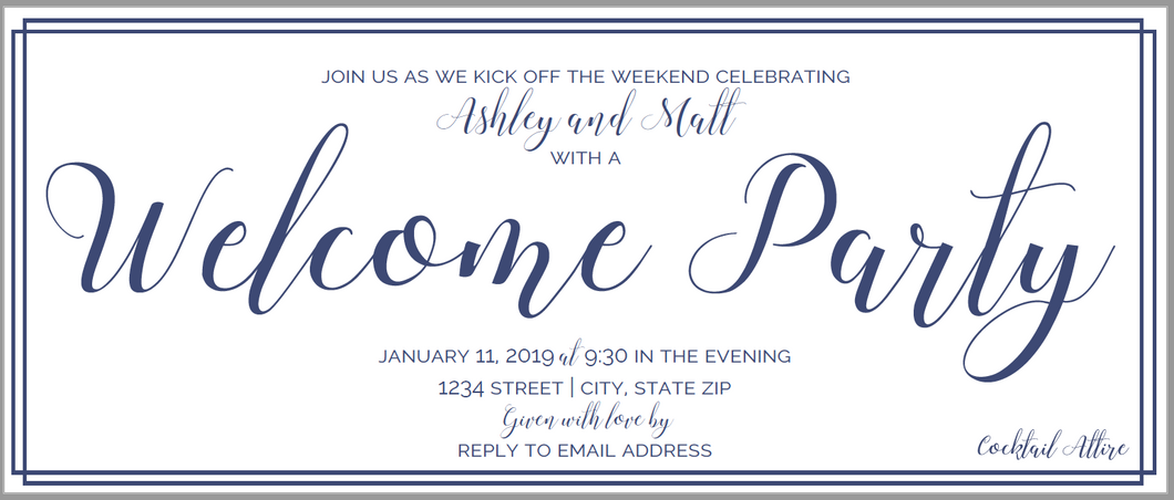 Welcome Party Lumbar Invitation
