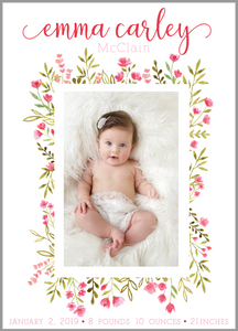 Floral Wreath Birth Announcement
