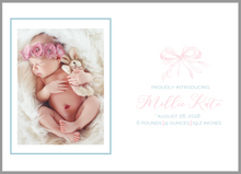 Load image into Gallery viewer, Bow Birth Announcement