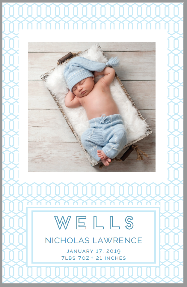 Blues Pattern Birth Announcement