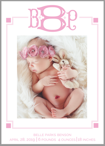 Geometric Monogram Birth Announcement