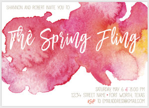 Hot Pink Watercolor Invite