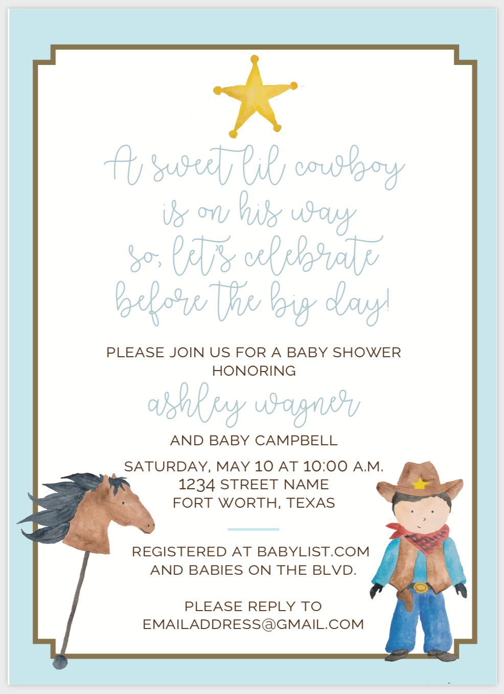 Little Cowboy Invitation