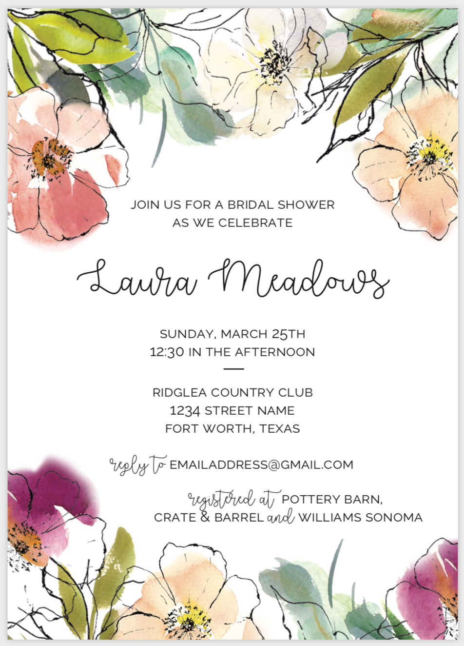 Abstract Watercolor Flower Invite
