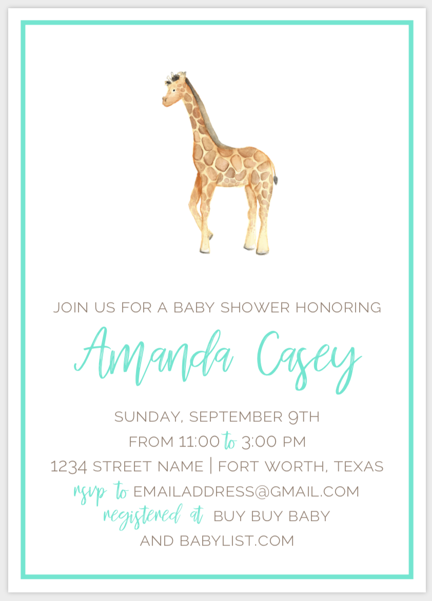 Watercolor Giraffe Invitation
