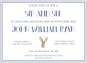 Jack Rabbit Baby Invitation