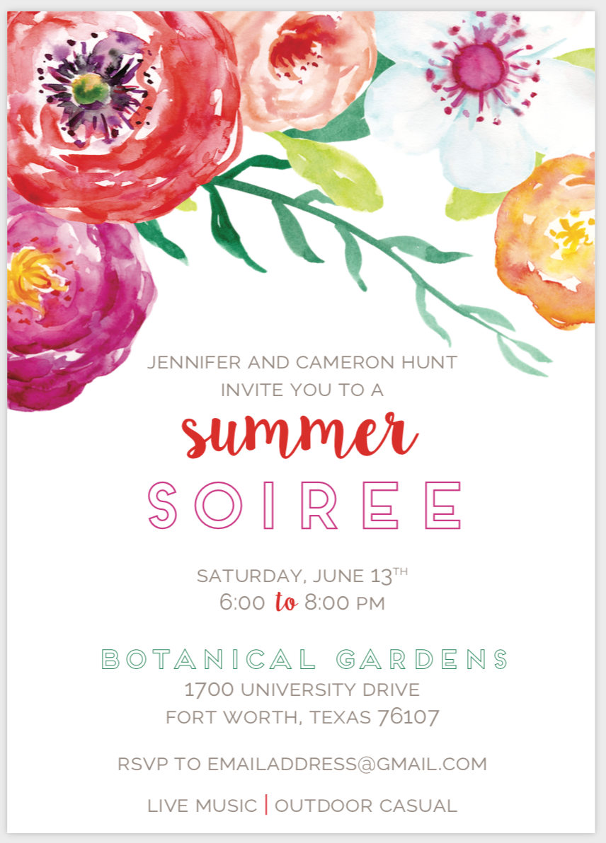 Bright Floral Party Invitation