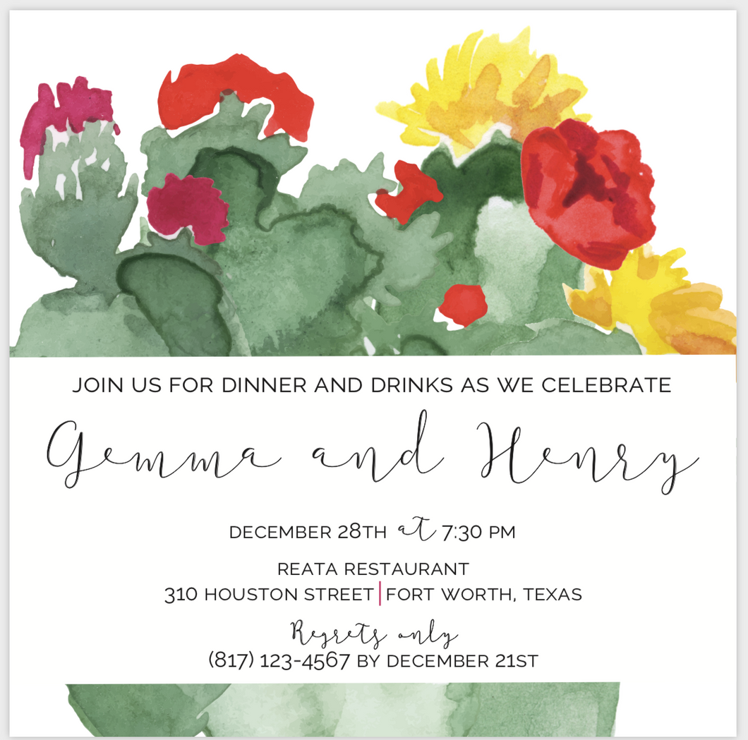 Abstract Cactus Invitation