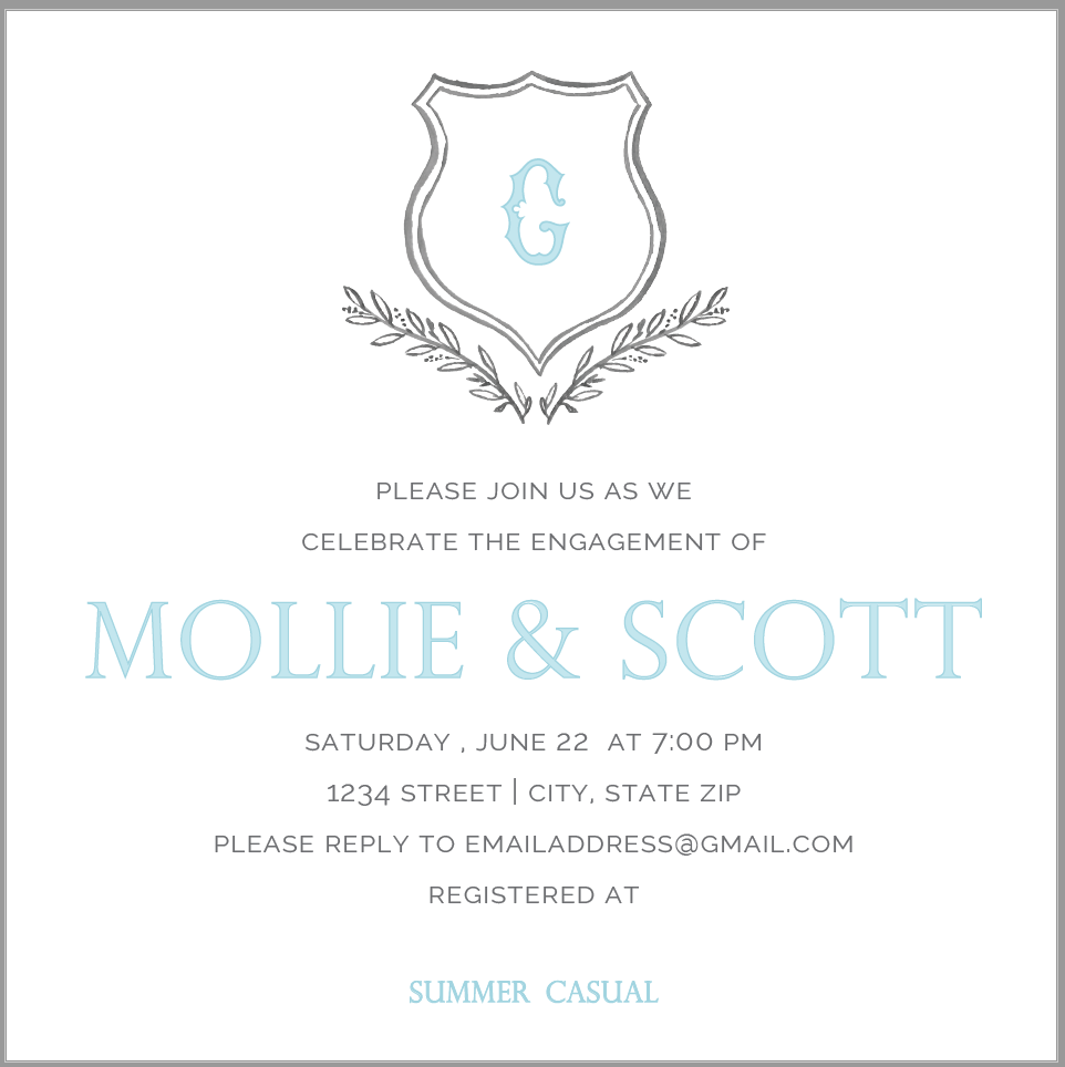 Grey Crest Invitation