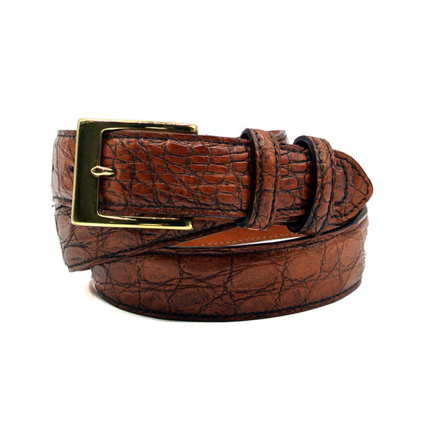 O-0140AC Crocodile Belt Antique Copper Brown