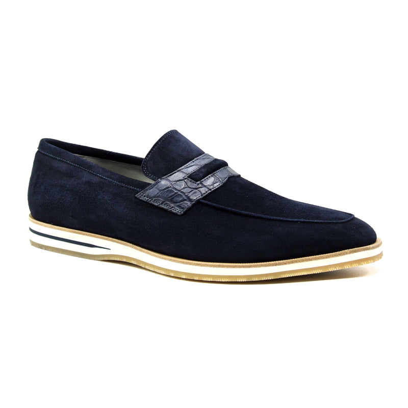 11-020-NVY MEO 3 Sueded Goatskin Penny Loafer, Navy
