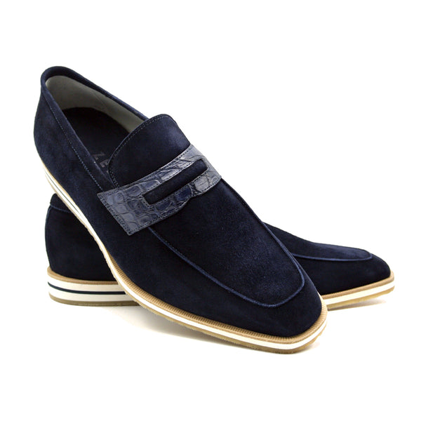 MEO 3 Sueded Goatskin Penny Loafer, Navy