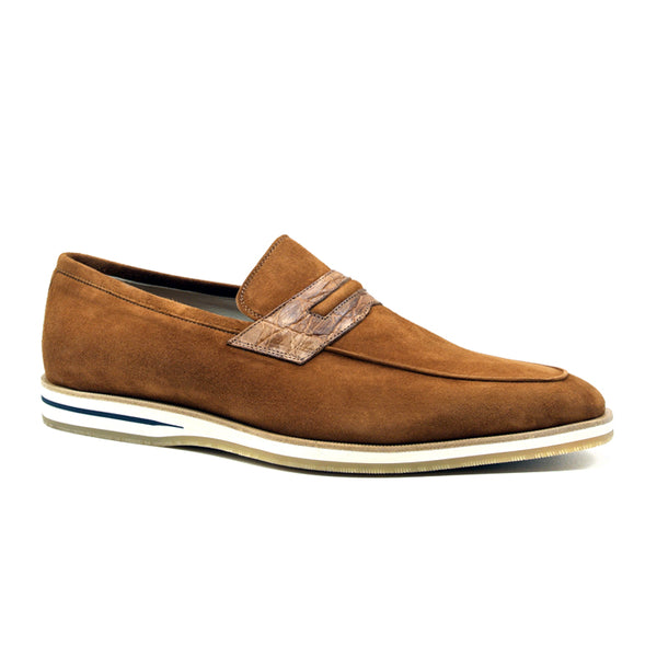 11-020-CGN MEO 3 Sueded Goatskin Penny Loafer, Cognac