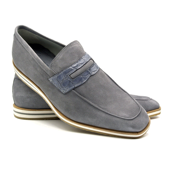 11-020-GRY MEO 3 Sueded Goatskin Penny Loafer, Gray
