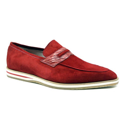 11-020-RED MEO 3 Sueded Goatskin Penny Loafer, Red