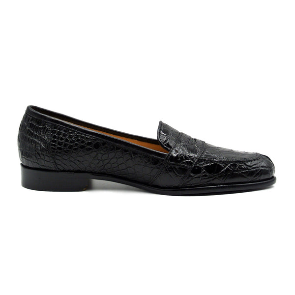 11-119-BKM (BLK) TUSCANY Crocodile Penny Loafer, Black