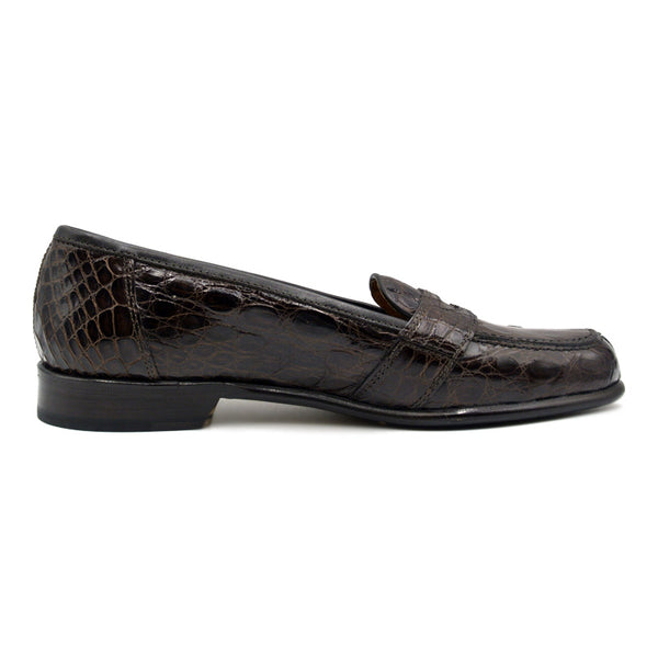 TUSCANY Crocodile Penny Loafer, Brown