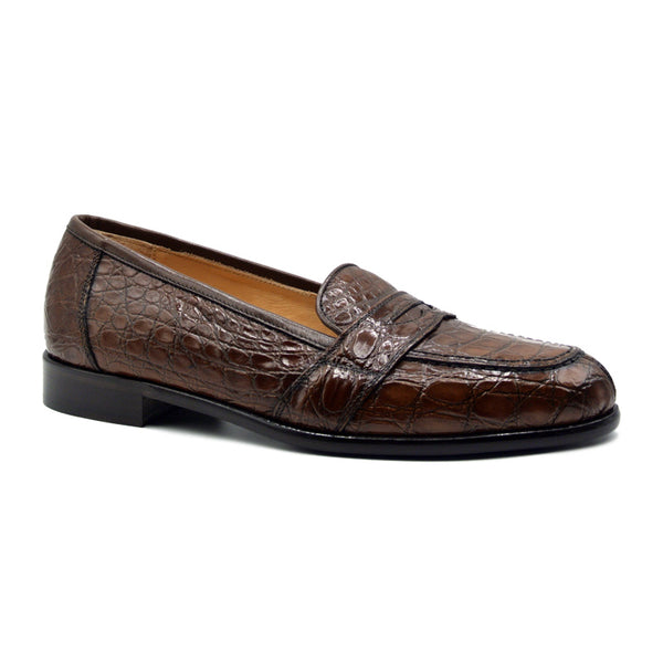 11-119-CGN TUSCANY Crocodile Penny Loafer, Cognac