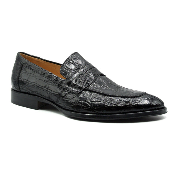 ROMA Crocodile Penny Loafer, Black