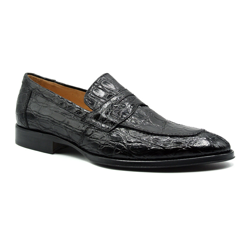 11-201-BKM ROMA Crocodile Penny Loafer, Black