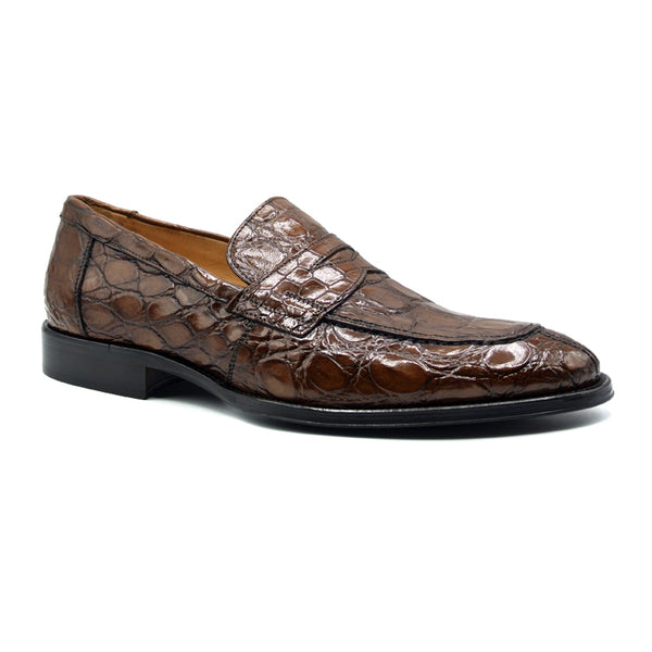 ROMA Crocodile Penny Loafer, Cognac