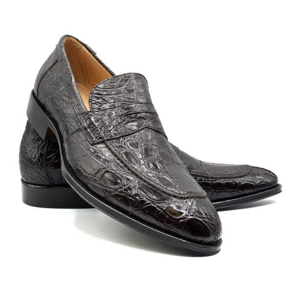 ROMA Crocodile Penny Loafer, Nicotine