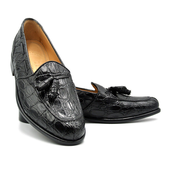 FRANCO Crocodile Tassel Loafer, Black