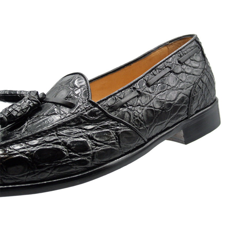 11-582-BLK FRANCO Crocodile Tassel Loafer, Black