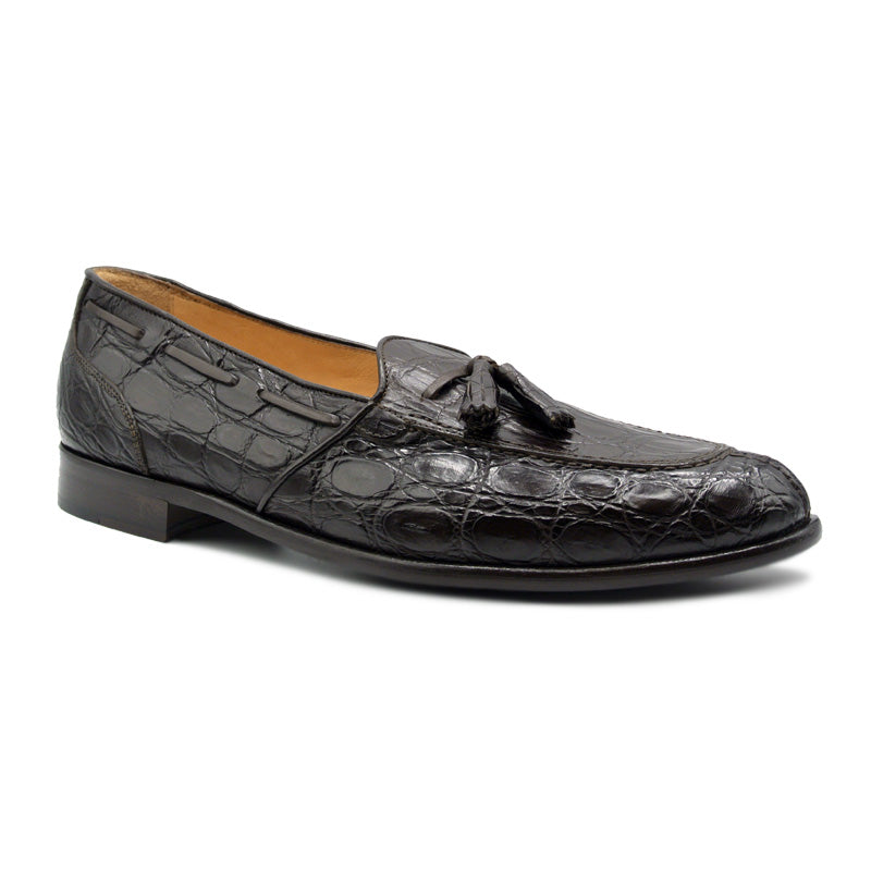 11-582-NIC FRANCO Crocodile Tassel Loafer, Nicotine