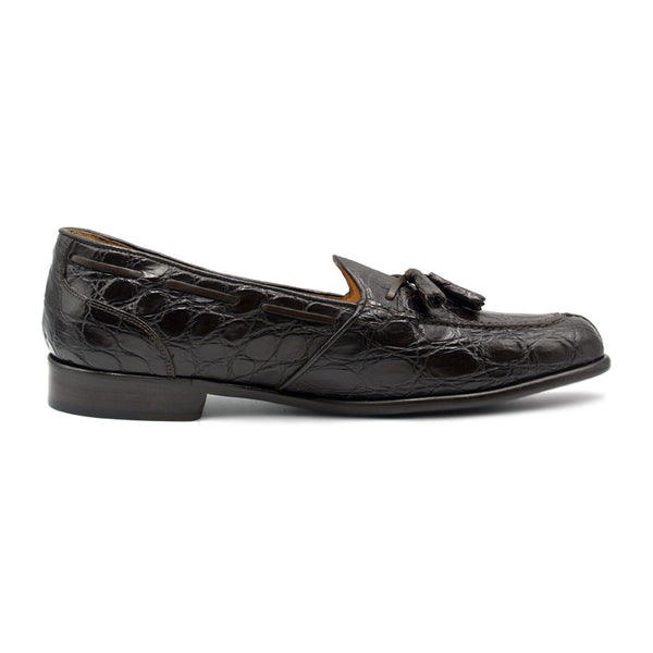 FRANCO Crocodile Tassel Loafer, Nicotine