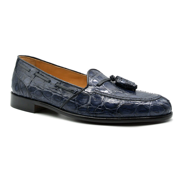 11-582-NVY FRANCO Crocodile Tassel Loafer, Navy