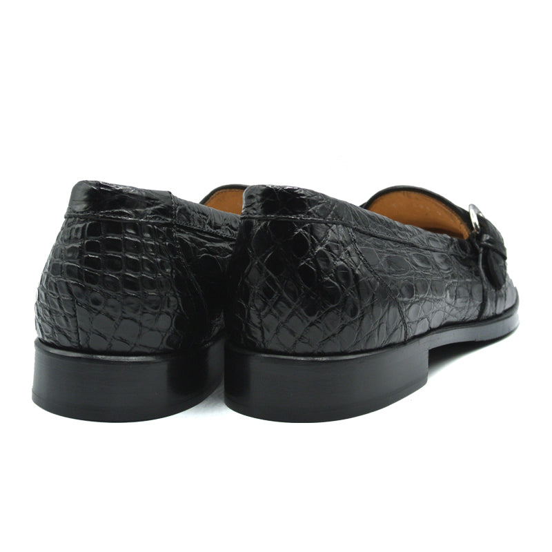 11-593-BKM ORLANDO Crocodile Buckle Loafer, Black