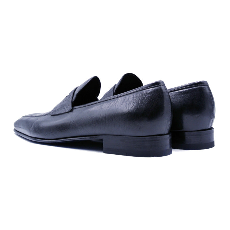 VITO Tumbled Calfskin & Crocodile Penny Loafer, Black