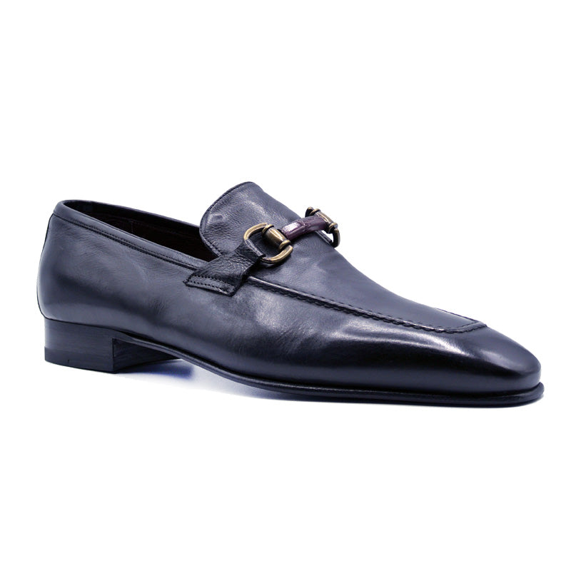 11-610-BLK ANTICO Calfskin Brass Bit Loafer, Black